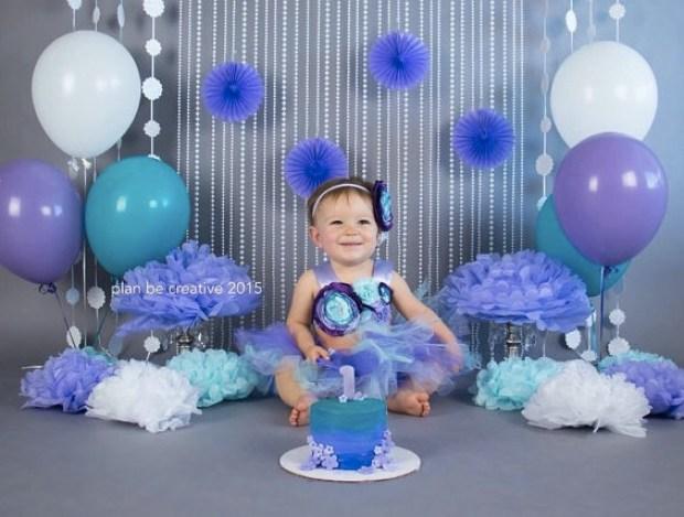 Gorgeous Purple, Lavender, and Aqua Cake Smash Outfit Tutu