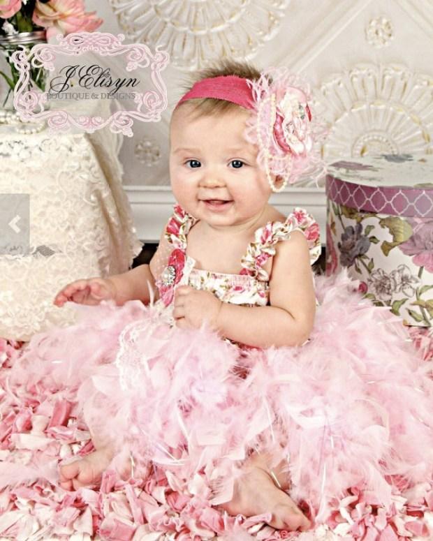 Light Pink ivory vintage feather dress