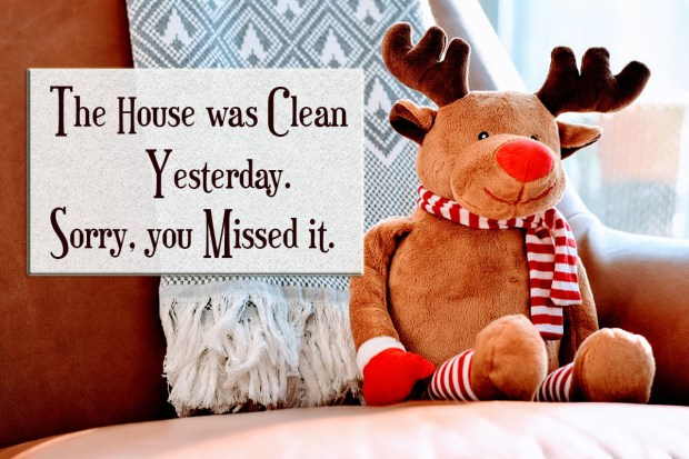 The house was clean yesterday. Sorry, you missed it