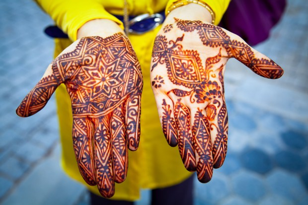 Hands painted with geometric design