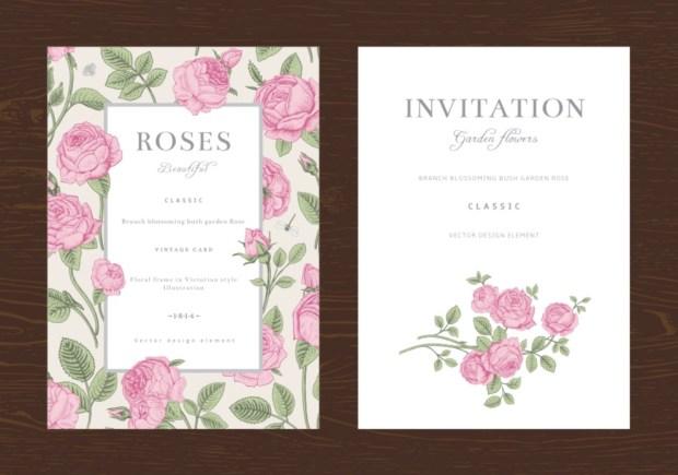 Floral vector vertical vintage invitation. Set. Pink Garden Roses