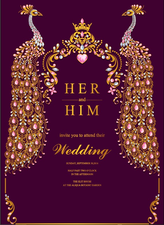 Indian wedding Invitation card templates with gold peacock patterned and crystals on paper color