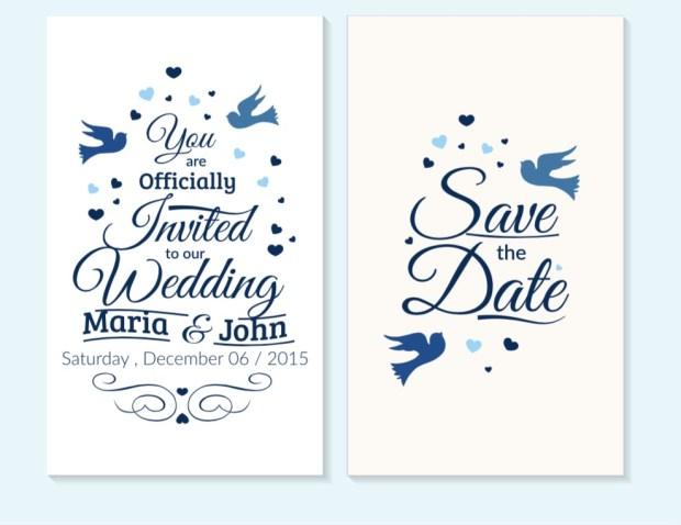 Wedding invitation with beautiful birds