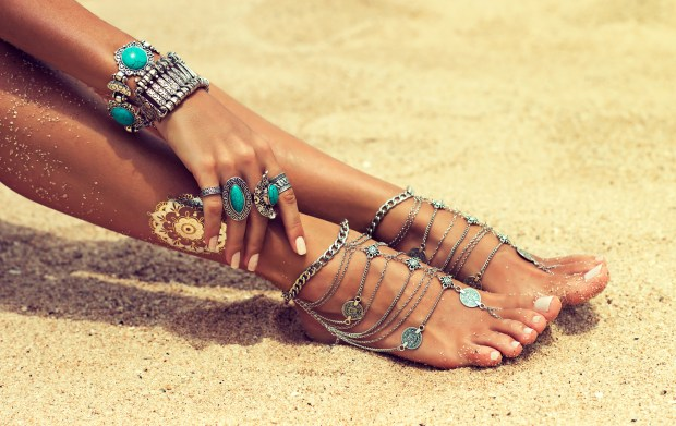 silver jewelry,bracelets and rings with turquoise.Boho style
