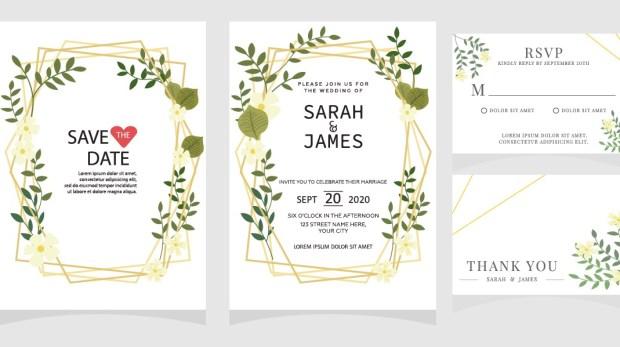wedding invitation card template Vector illustration