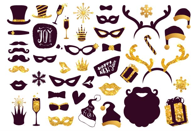 Black-and-gold moustaches, lips, masks