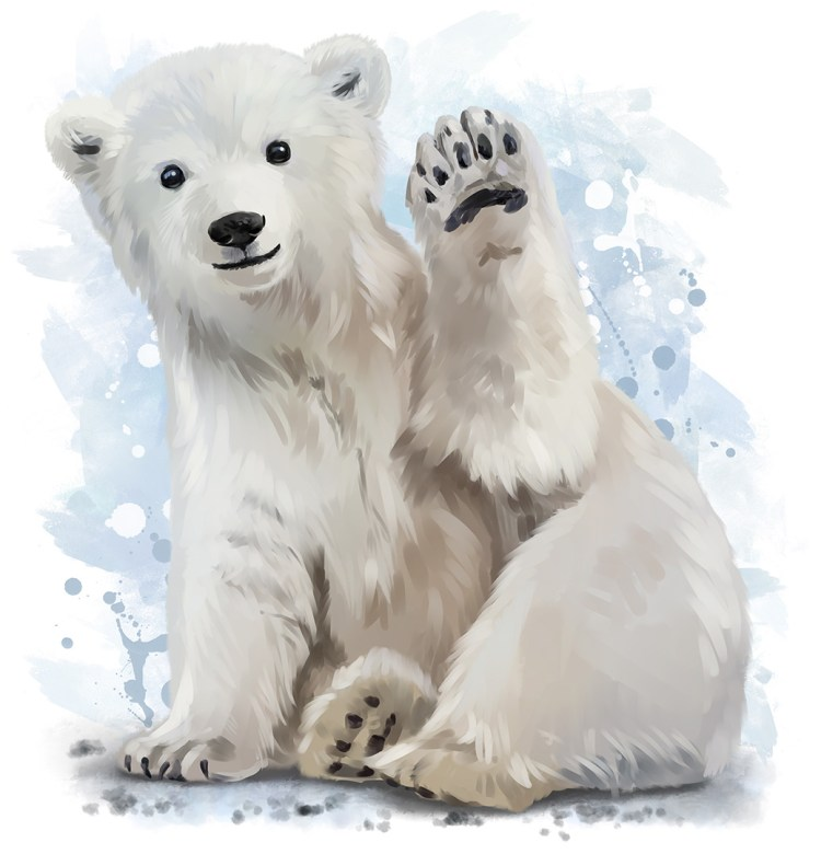 Polar bear watercolor painting