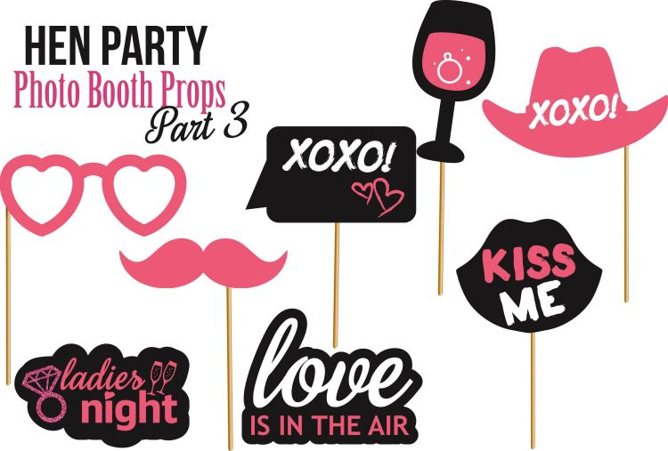 Set of Hen Party photobooth Props