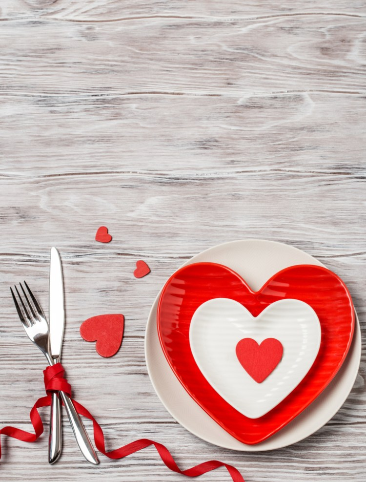 Dinner table with Heart shaped plate