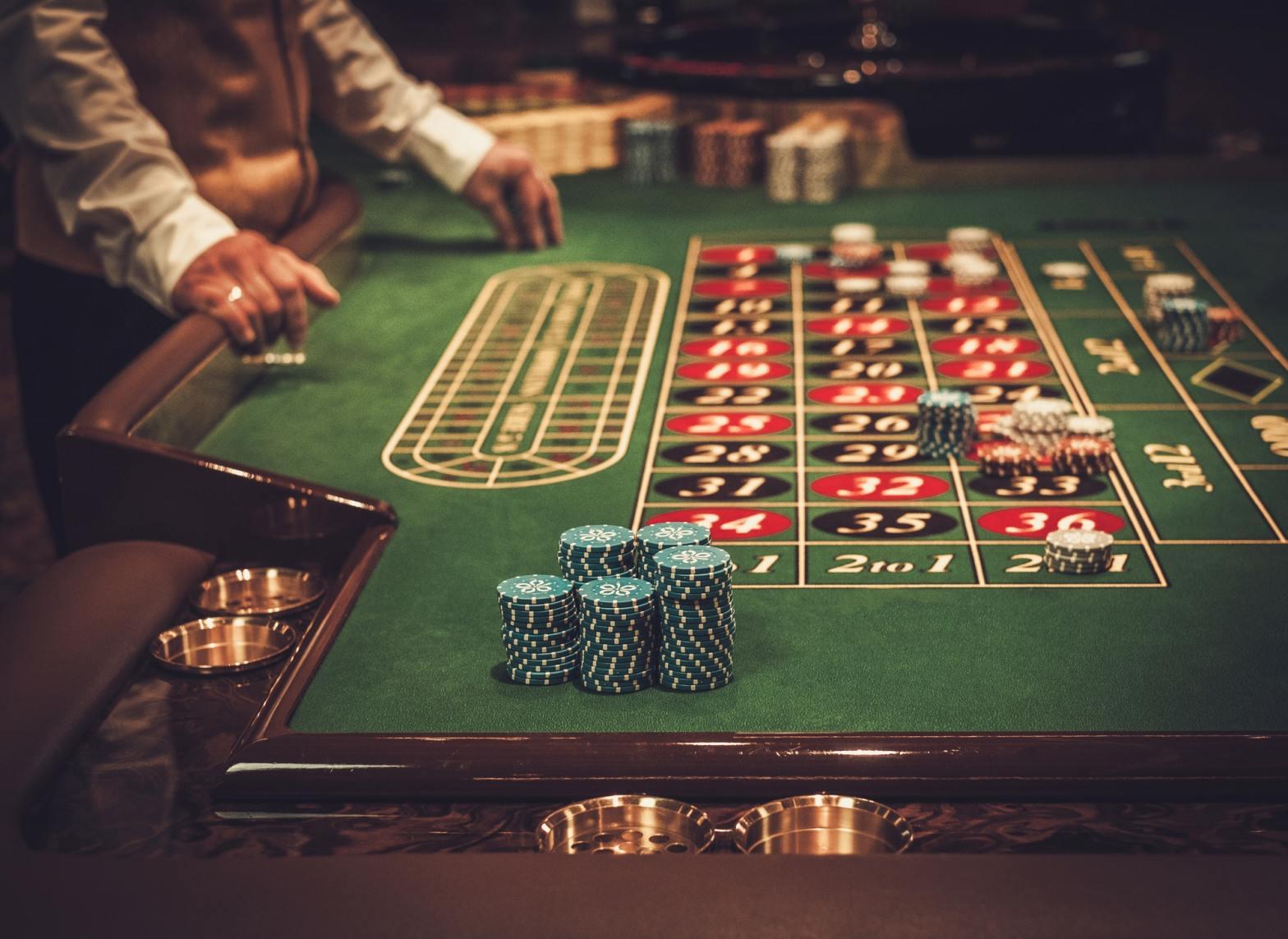 Gambling table in luxury casino