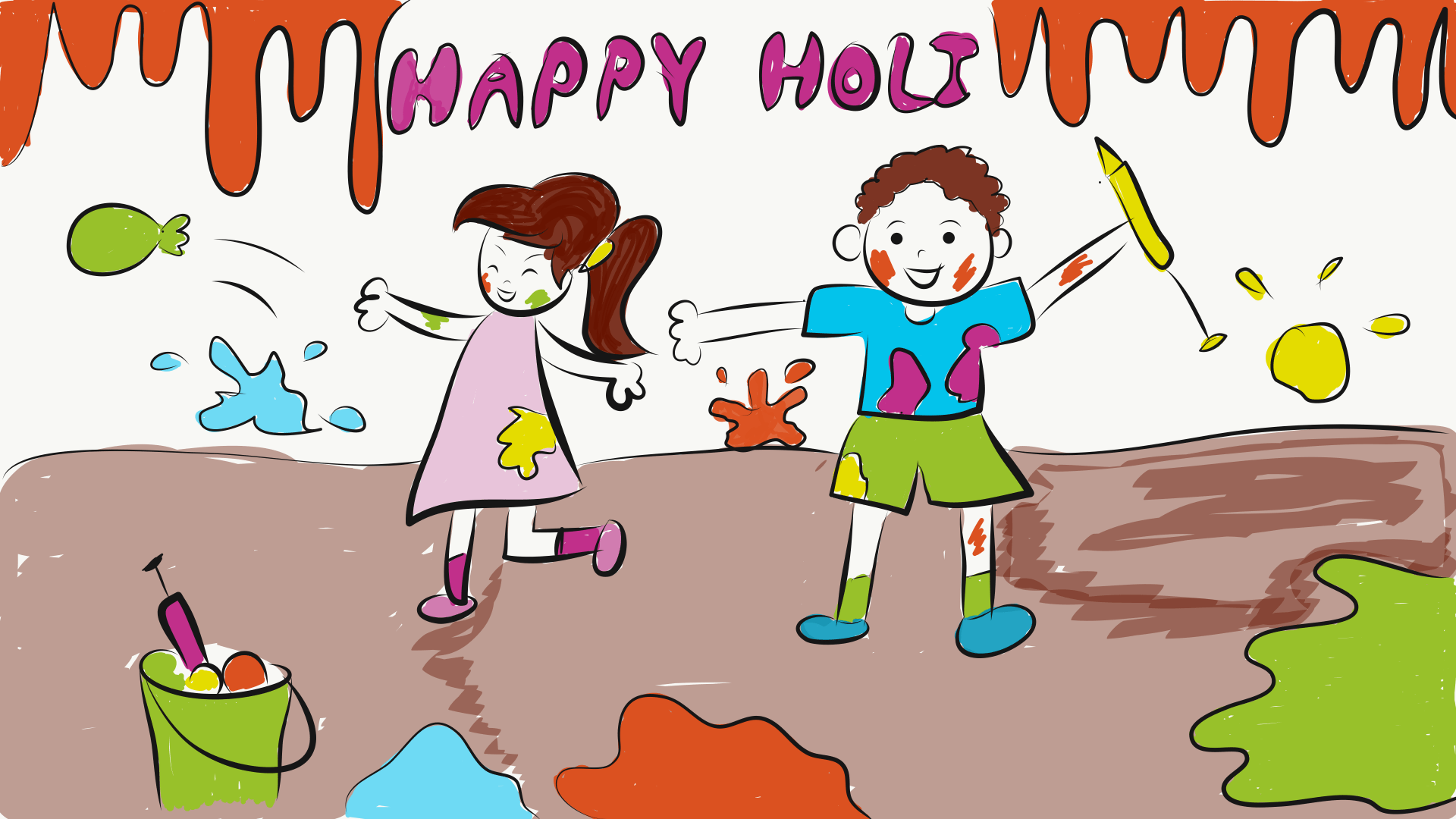 Happy Holi Kids Playing Holi Scene