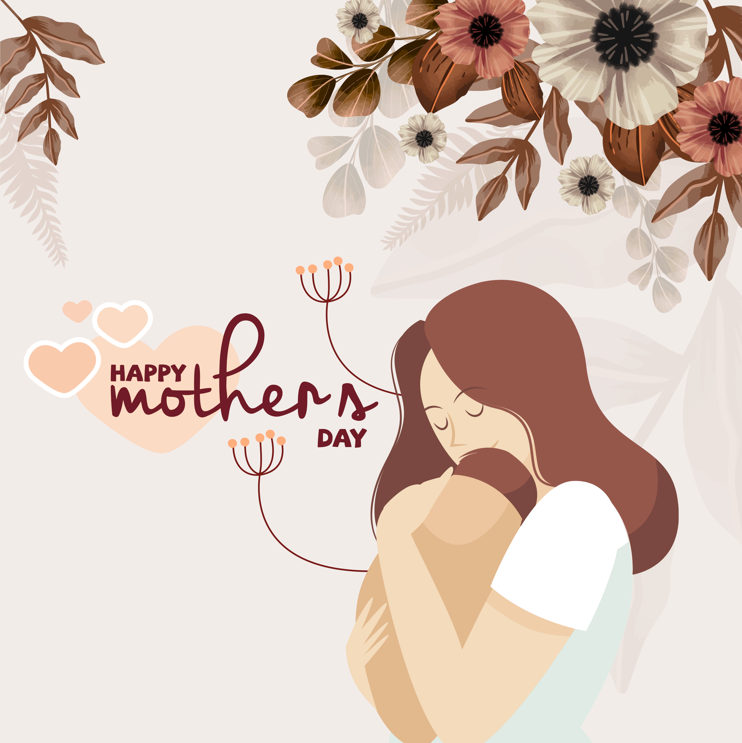 Happy Mother's day of Cute young mother embracing her child with love 2446 x 2448