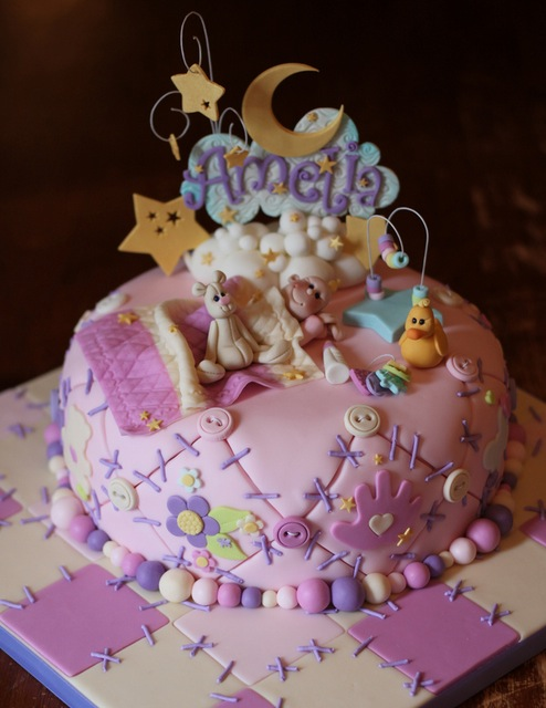 Quilted baby shower cake
