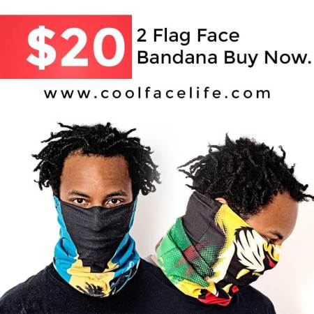 Flag Face Soca Bandana 2 for $20