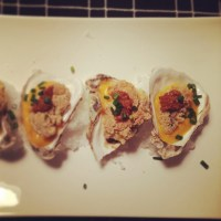 The World is your Cornmeal Crusted Oyster with Mango Vinaigrette and Red Chile Horseradish