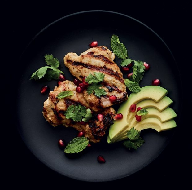 Spicy Yogurt and Lemongrass-Marinated Chicken with Pomegranate