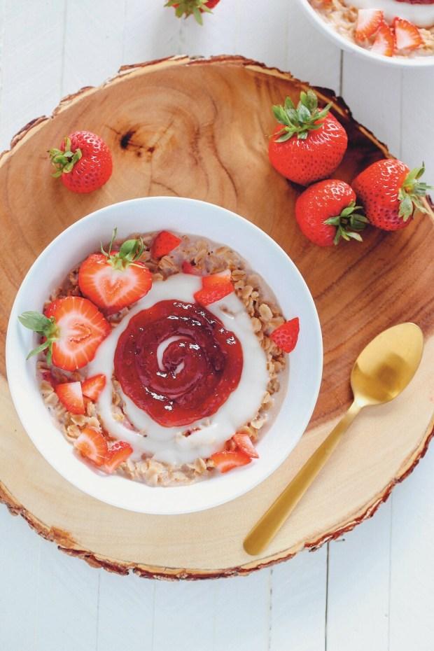 Strawberries and Cream Warm Oats
