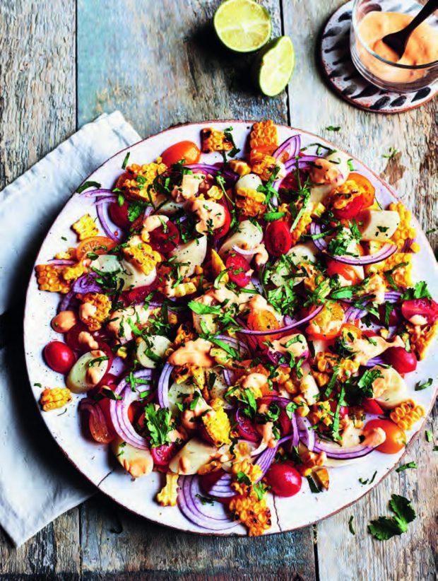 Milli's Charred Corn Salad, Bazaar cookbook by Sabrina Ghayour, Photography by Kris Kirkham
