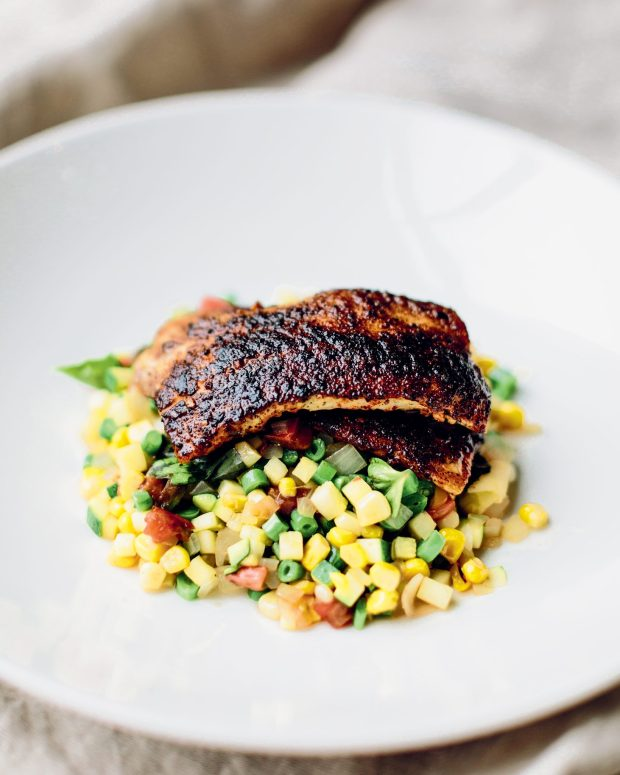 Blackened Catfish with Corn Succotash