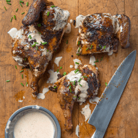 Spatchcocked Chicken with White Barbecue Sauce
