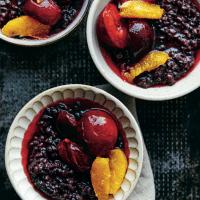 Black Rice Pudding with Plums & Orange