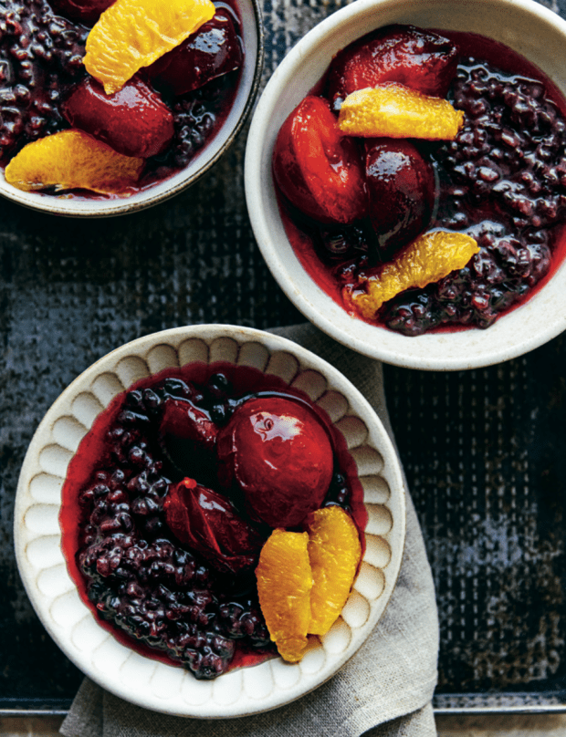 Black Rice Pudding with Plums & Orange