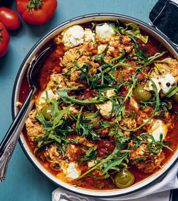 Chicken, Kale & Feta Dumplings with Sicilian Olives