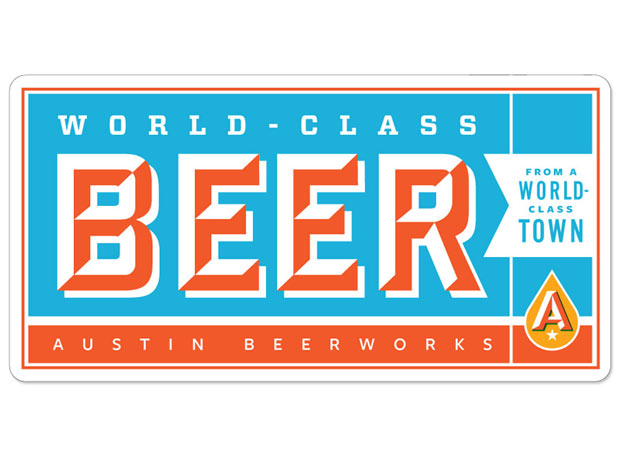 AUSTIN BEER WORKS Texas font STICKER decal craft beer brewery brewing