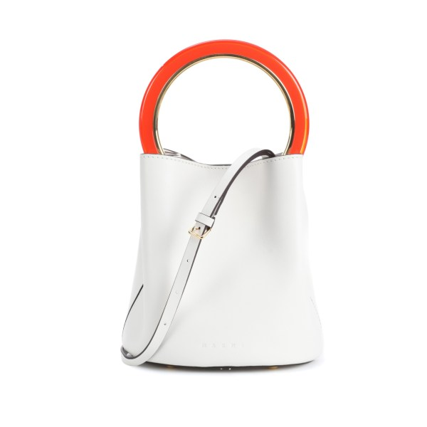 137254259d22 Made with buttery white calfskin leather with black contrast edges
