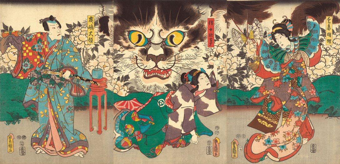 85_Kunisada_Beloved-Concubine-Kocho,-Her-Maid-Okoma,-and-Narushima-Tairyo-japan-society-gallery-life-of-cats.jpg