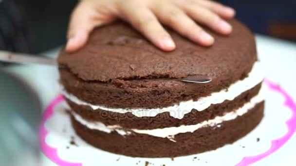 Bolo de chocolate com creme branco