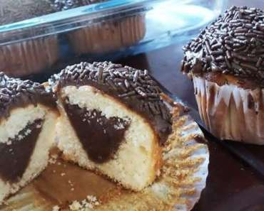 Cupcake de chocolate com cobertura de brigadeiro