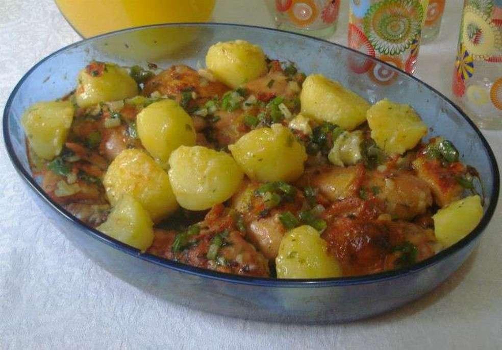 Receita de Almoço Rápido de Frango com Batatas Ao Forno