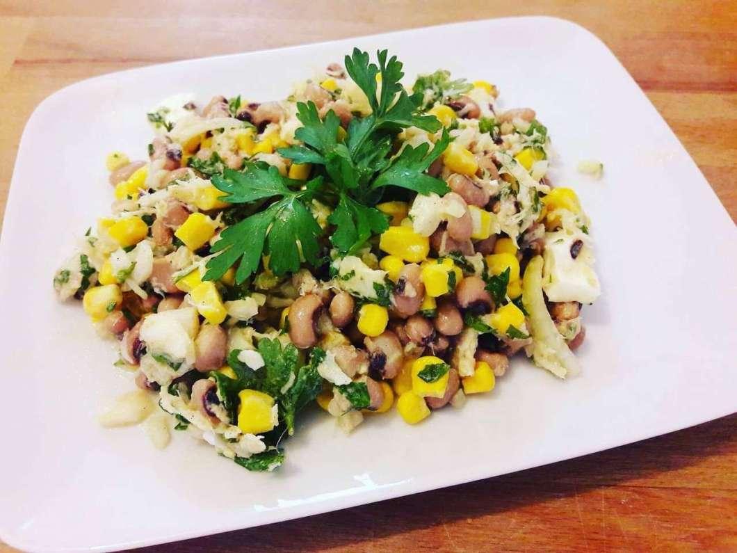 Receita de Salada de Feijão Fradinho com Bacalhau Temperado