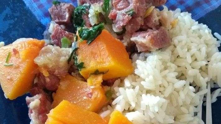 Receita de Carne seca com abóbora Fácil