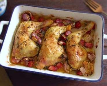 Receita de Coxas de frango no forno com chouriço e alho