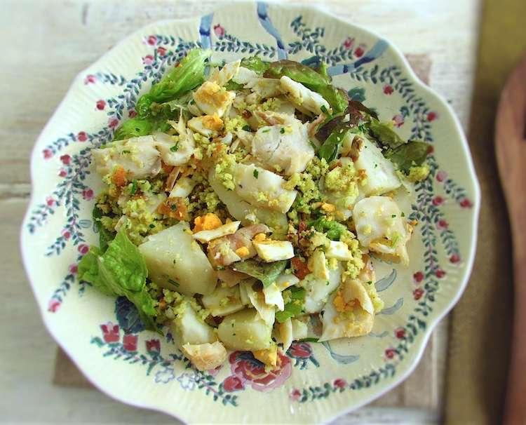 Receita de Salada de bacalhau e batatas