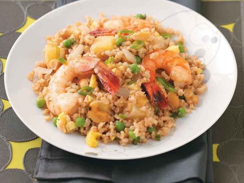 Receita de Arroz com camarão e alho francês
