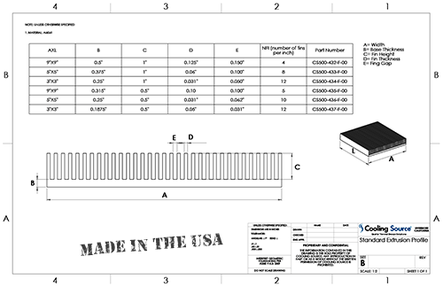Standard Extrusion Profile Drawing
