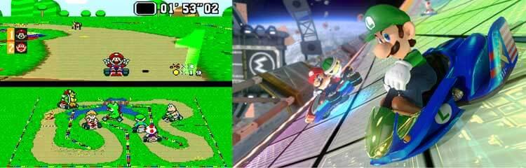 Super Mario Kart (1992, Super Nintendo) y Mario Kart 8 (Nintendo WiiU, 2014).