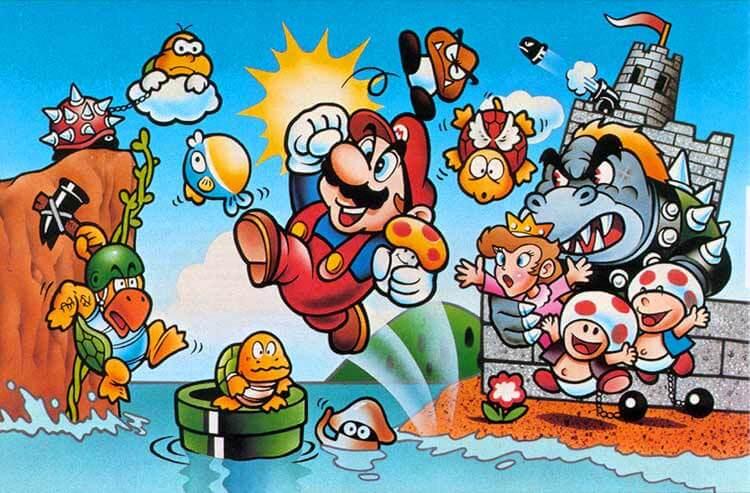 Arte de la caja de Super Mario Bros (1985, Nintendo Entertainment System) para la versión japonesa y europea del juego.