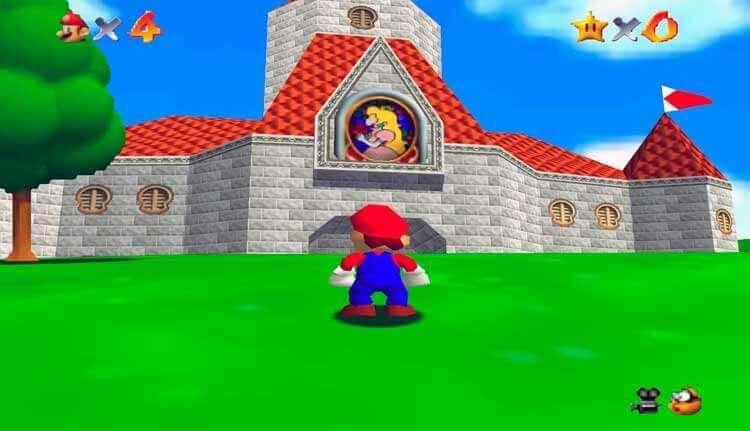 Pantalla de juego de Super Mario 64 (1997, Nintendo 64)