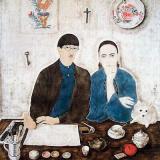 Léonard Foujita - Interior, My Wife and Myself (1923)