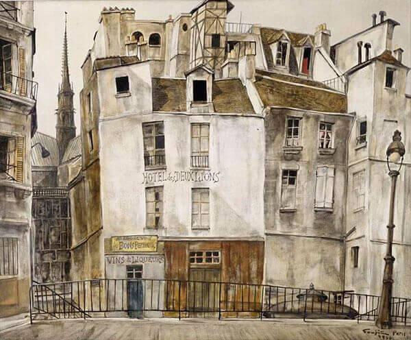 Léonard Foujita - Le quai aux fleurs, Notre Dame (1950)