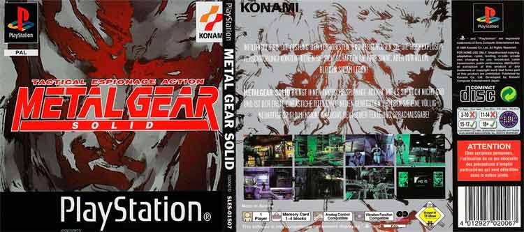 Carátulas frontal y trasera de Metal Gear Solid (1998), para Playstation. Versión PAL Europea. Podemos ver el número de códec impreso en la parte trasera. Kojima romperá la cuarta barrera con el jugador diciéndole que dicho código se encuentra en la parte trasera de la caja del juego.