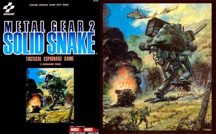 Carátula original para MSX2 de Metal Gear 2: Solid Snake (1990), y arte original de Yoshiyuki Takani, utilizado en dicha carátula. Podemos notar el gusto de Hideo Kojima por artistas de este tipo, como veremos más tarde en la contratación de Takani de nuevo, y el añadido del fallecido este año pasado, Noriyoshi Ōhrai, en futuros proyectos.
