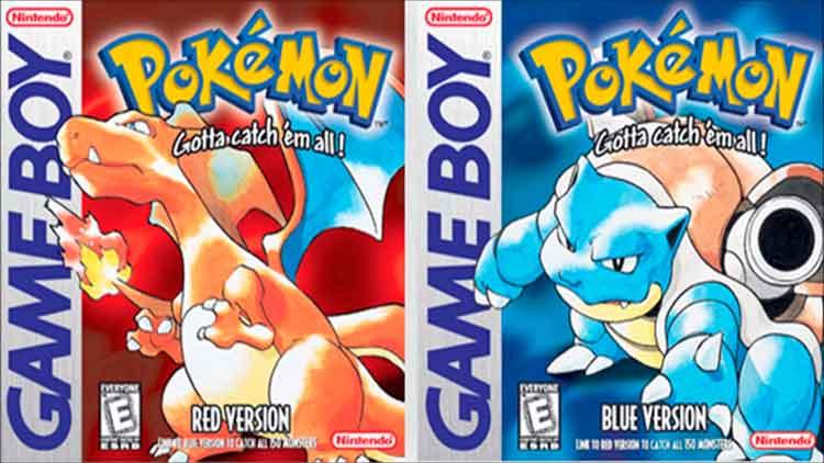 Carátulas de las ediciones Roja y Azul de Pokémon. Ilustraciones originales de Ken Sugimori.