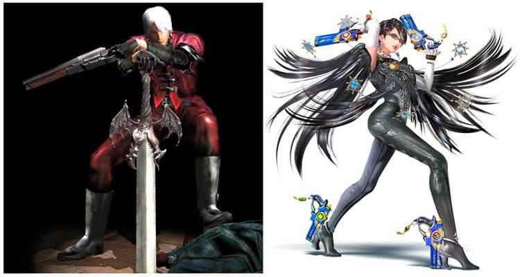 Dante, protagonista de la saga Devil May Cry, en la que trabajaron juntos Mikami y Kamiya, (2001, Playstation 2). A su derecha, Bayonetta, protagonista de la franquicia homónima, cuya primera entrega salió a la venta en 2010 para Playstation 3 y Xbox 360 (y ahora está disponible en WiiU, junto a la segunda parte, exclusiva de dicha consola, a la venta desde 2014). Bayonetta y su segunda entrega fueron realizados por el estudio Platinum Games, con antiguos miembros de Capcom como Shinji Mikami y el propio Hideki Kamiya. Bayonetta fue su respuesta a Capcom de si podían hacer otro nuevo videojuego de acción que recordara a los primeros Devil May Cry donde participaron ellos, que aportara frescura al género de hack 'n slash (videojuegos con una acción frenética y cierto componente de aventura y exploración).