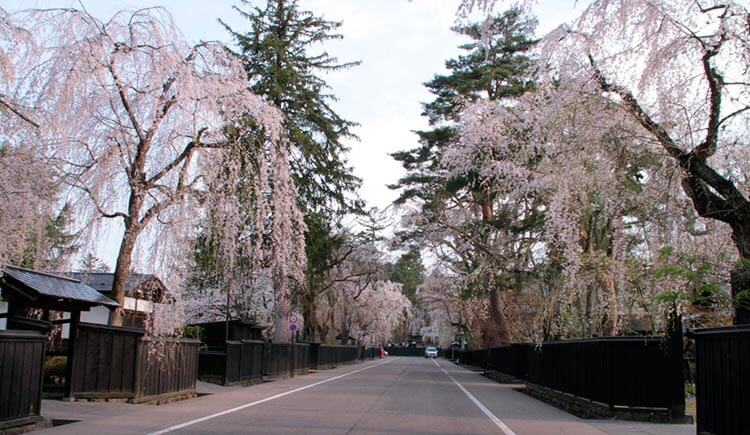 La calle donde se encuentras las casas de saturáis en Kakunodate en Yamagata.