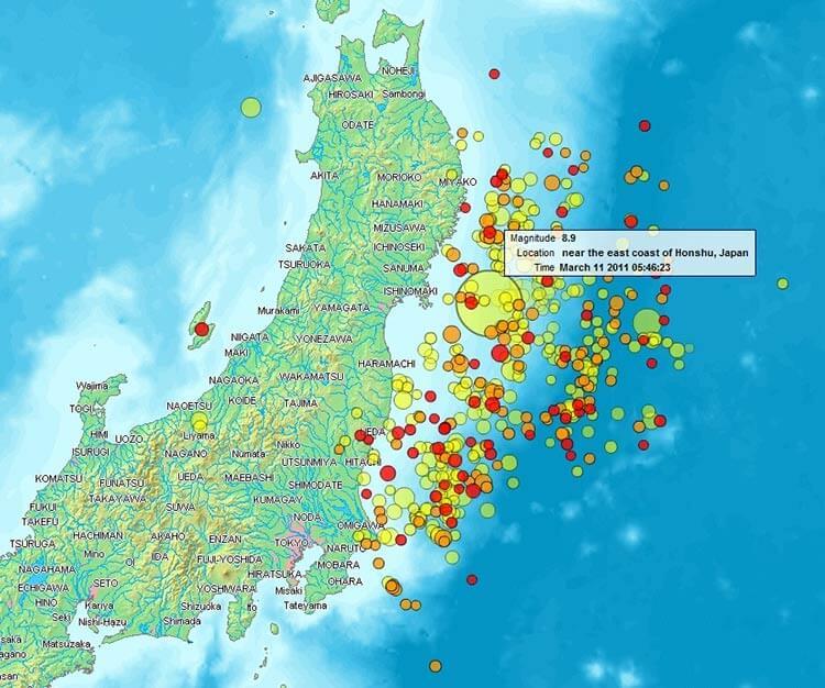 El mapa de magnitud del terremoto de 2011.